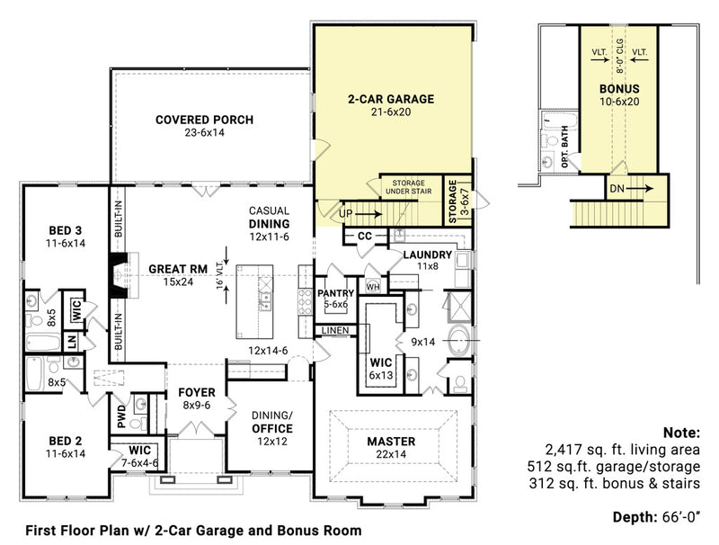 Rosemary Park House | First Floor Plan w/ Garage & Bonus