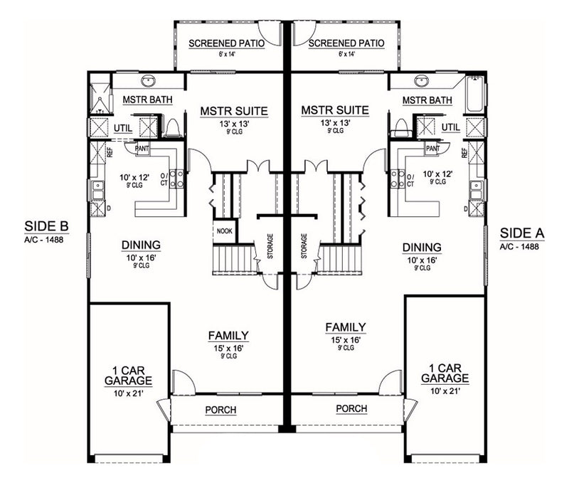 Sanborn Duplex first floor, floor plan
