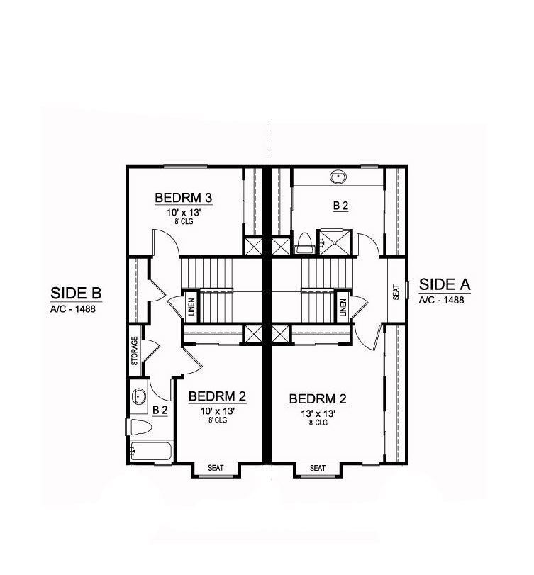 Sanborn Duplex second floor, floor plan