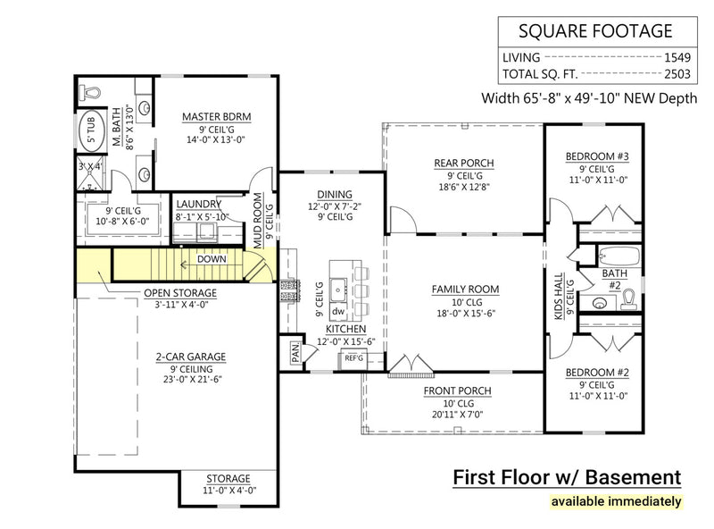 Spruce Pine House / First Floor Plan w/ Basement