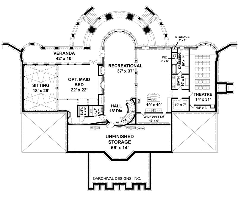 Sussex House basement floor plan