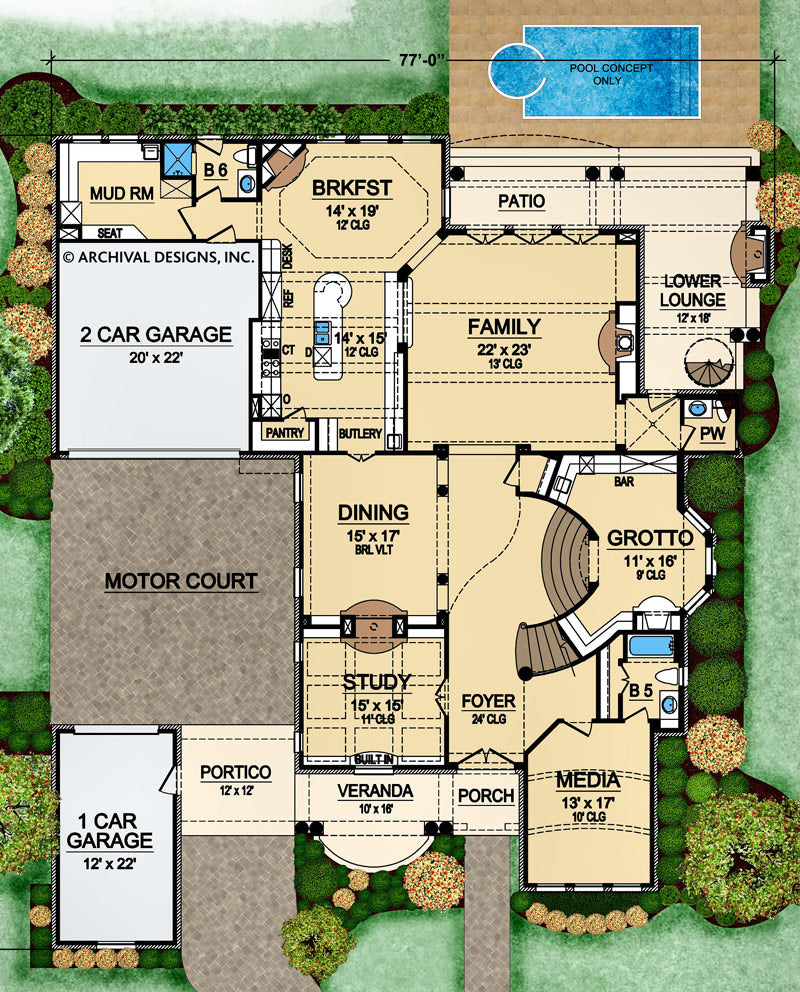 Villa barbaro first floor, floor plan