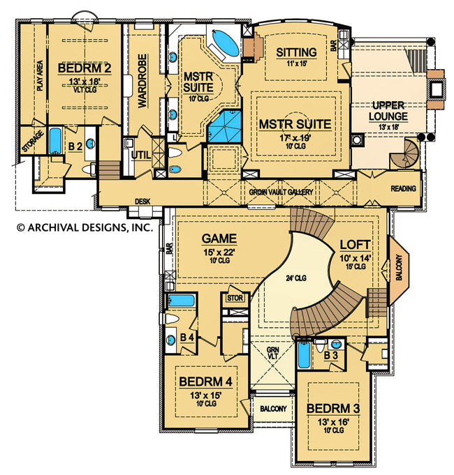 Villa barbaro second floor, floor plan