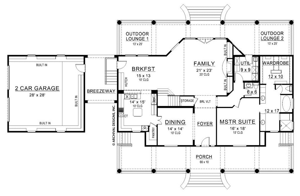 Williamsburg Country Floor Plan Southern House Plan Archival Designs