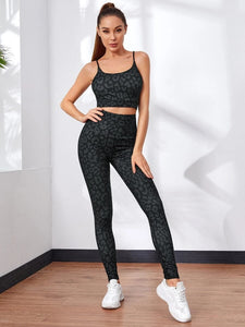 Leopard Print Sports Bra With High Waist Skinny Leggings Set