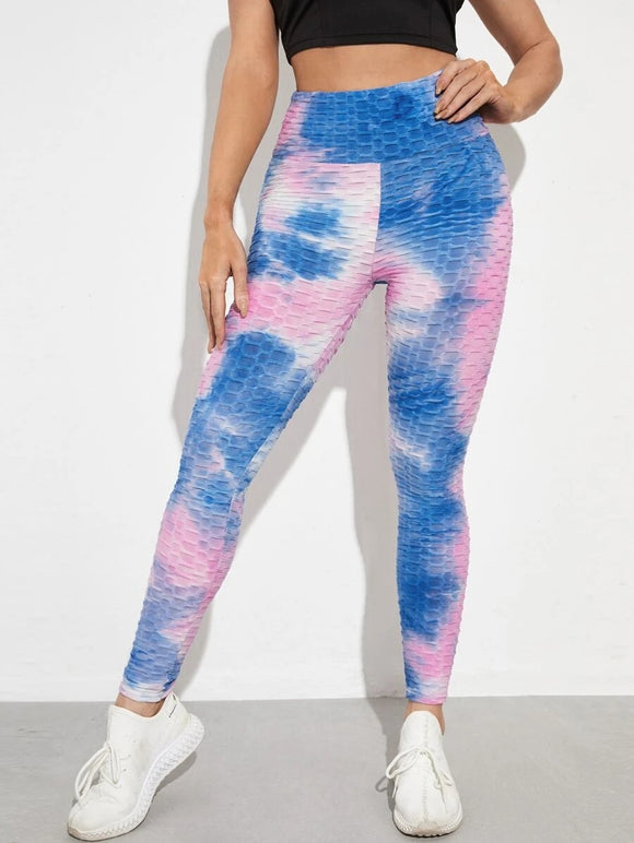 PINK TIE DYE WIDE BAND WAIST ANTI-CELLULITE SPORTS LEGGING