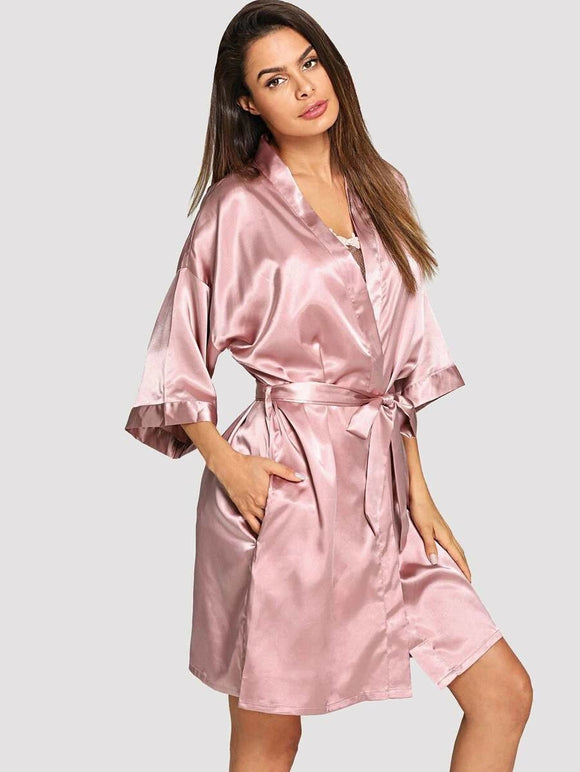 Pink Solid Self Belted Robe