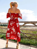 Off Shoulder Floral Top & Split Thigh Skirt Set