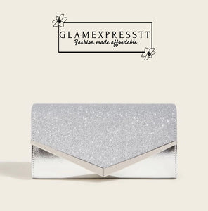 Silver Glitter Clutch Bag With Chain Strap
