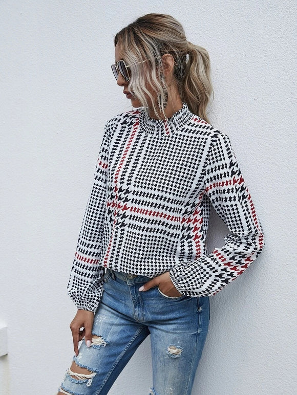 Houndstooth Long Peasant Sleeve Top