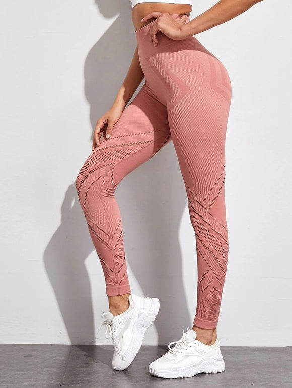 Solid Laser Cut Sports Leggings