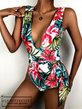 Floral & Tropical Tie Waist One Piece Swimsuit