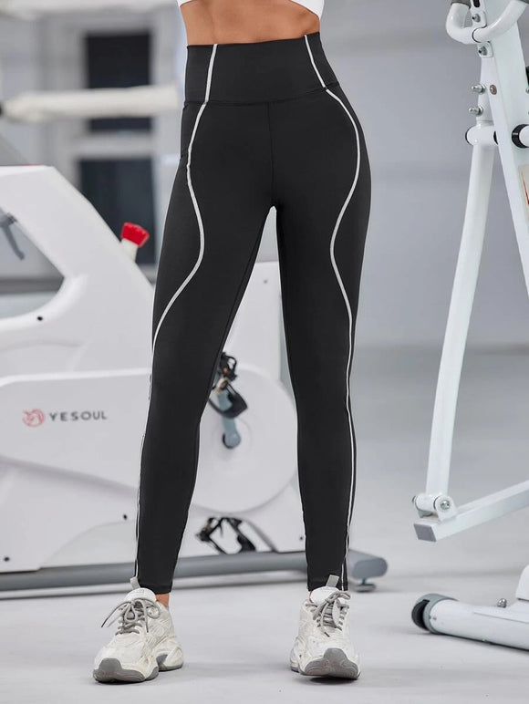 Topstitching Wide Waistband Sports Leggings
