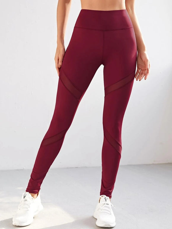 Contrast Mesh Wide Band Waist Sports Leggings