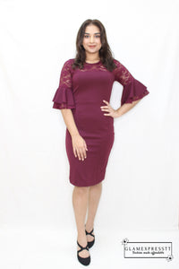 Maroon Flared Sleeve Bodycon Dress