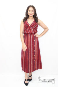 Red Stripe Button Up Maxi