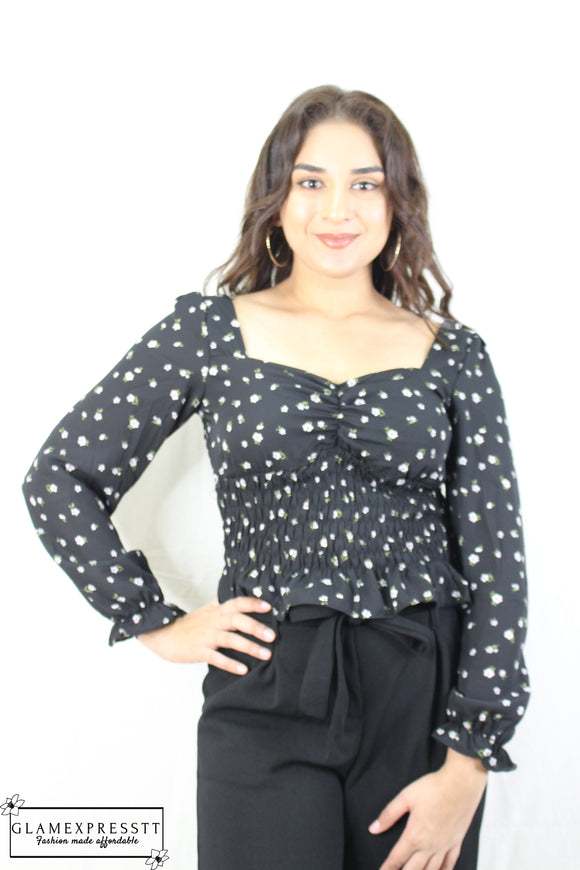 Long Sleeve Black Printed Crop Top