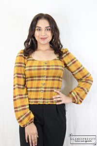 Mustard Checked Print Top
