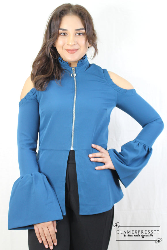 Electric Blue Cut Out Bell Sleeve Top