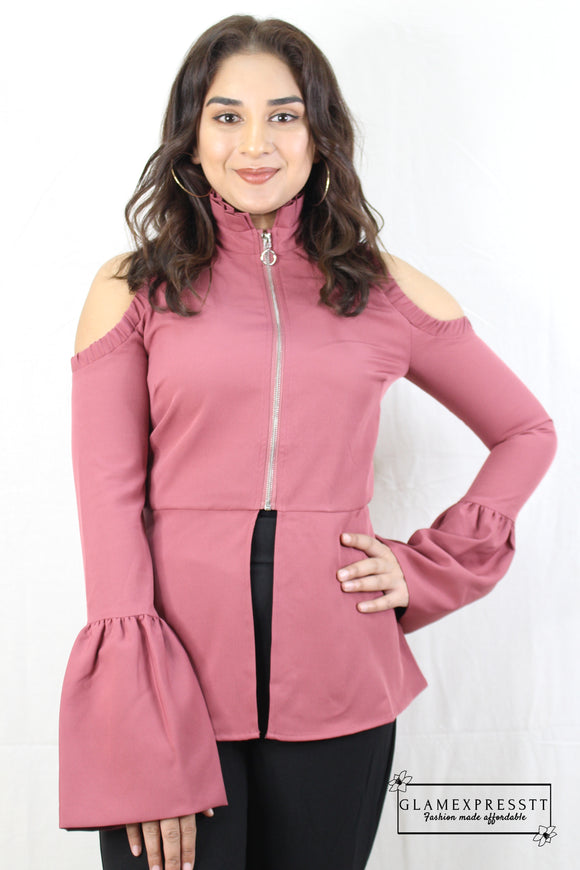 Mauve Cut Out Bell Sleeve Top