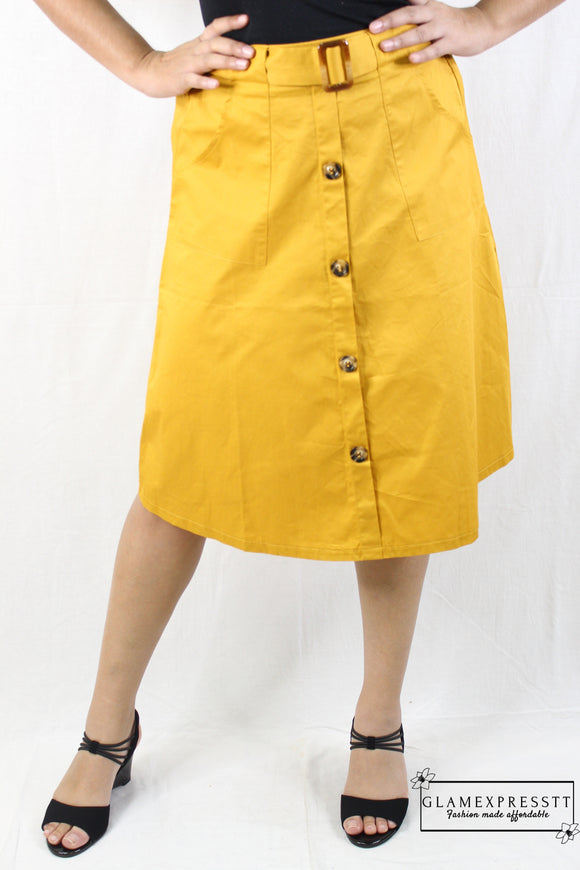Yellow Button Down Belted Skirt