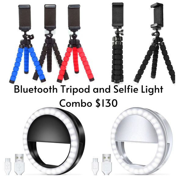 Bluetooth Tripod and Selfie Light Combo