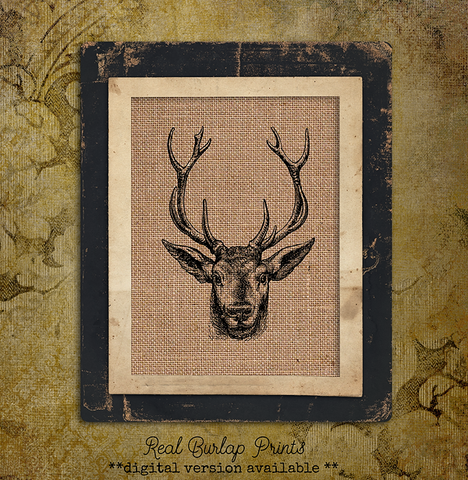 DEER | Hunting | Deer | Animal | Men | Hunter | Gift | Burlap | 038 - M and J Rustic Creations