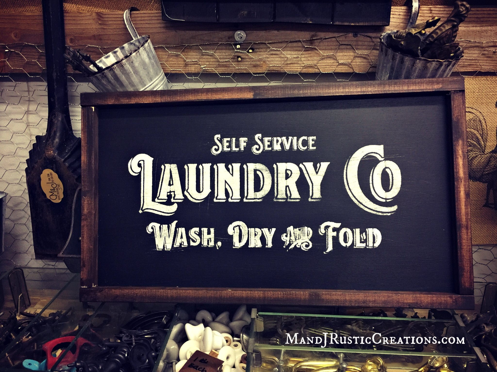Wood Laundry Sign |  Black Chalkboard Style - M and J Rustic Creations