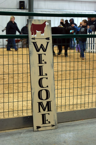 WELCOME SIGN RED/WHITE FACE STEER
