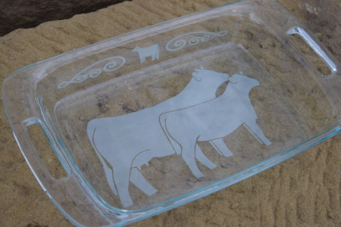 "9""x13"" Pyrex Etched Glass Pan"