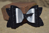"GLITTER & FAUX LEATHER BOW 4.5"" SILVER WITH BLACK [YOU CHOOSE THE ANIMAL]"
