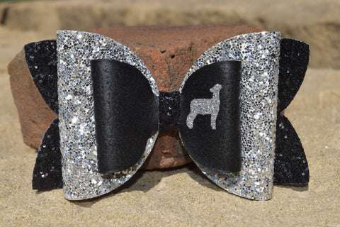 "GLITTER & FAUX LEATHER BOW 4.5"" BLACK WITH SILVER [YOU CHOOSE THE ANIMAL]"