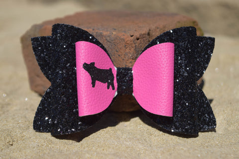 "GLITTER & FAUX LEATHER BOW 4.5"" PINK AND BLACK [YOU CHOOSE THE ANIMAL]"