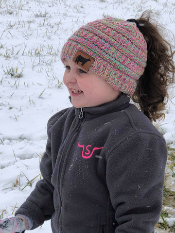 KIDS PONYTAIL/MESSY BUN BEANIE WITH PATCH [YOU CHOOSE ANIMAL]