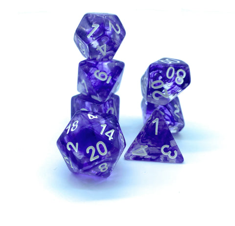 Ice Maiden Dice- Transparent Purple Nebula - Critical Dice