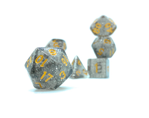 Deep Space Dice- Transparent Black with Glitter - Critical Dice