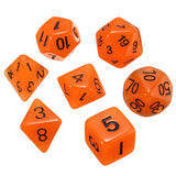 dnd Dice Set Glow in the Dark Orange