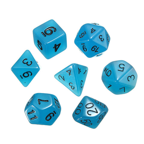 dnd Dice Set Glow in the Dark Blue