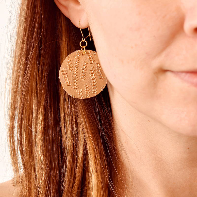 DIY Rubber Stamp and Hot Glue Earrings