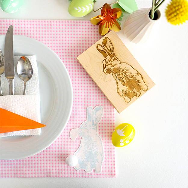 DIY Stamped Easter Bunny Placemat
