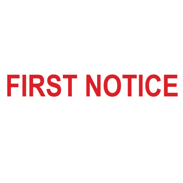 FIRST NOTICE Stamp