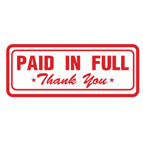 Box PAID IN FULL Thank You Stamp