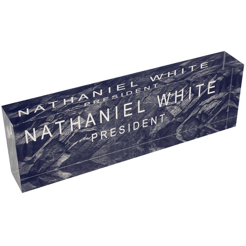 Acrylic Glass Block Name Plate - Black Granite