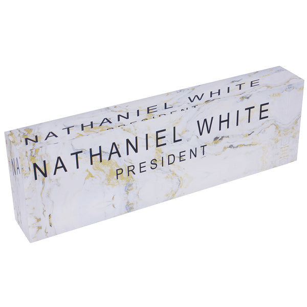 Acrylic Glass Block Name Plate - Gold Granite