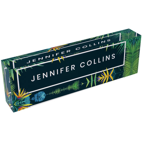 Acrylic Glass Block Name Plate - Tropical in Navy