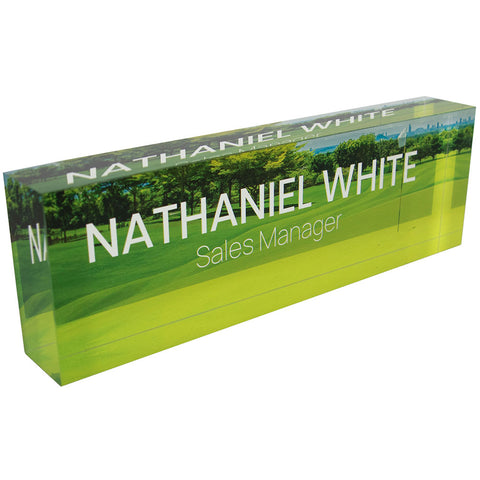 Acrylic Glass Block Name Plate - Golf Course