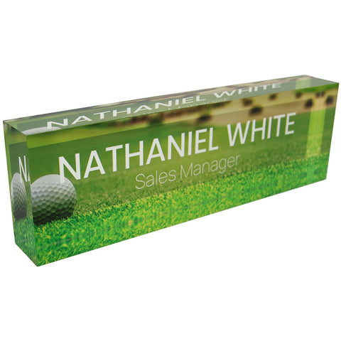 Acrylic Glass Block Name Plate - Golf Ball