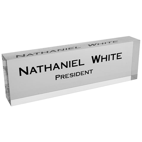 Acrylic Glass Block Name Plate - Clear
