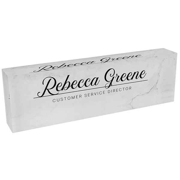Acrylic Glass Block Name Plate - Marble Clear