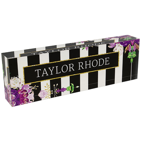 Acrylic Glass Block Name Plate - Floral Purple